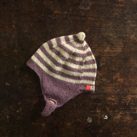 Hand Knitted Helmet Bonnet - Plum/Natural -  0m-2y
