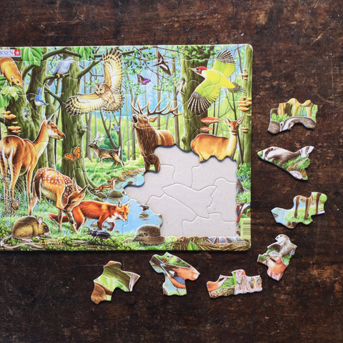 Thick Cardboard Puzzle 40 pieces - Wildlife of the European Forest