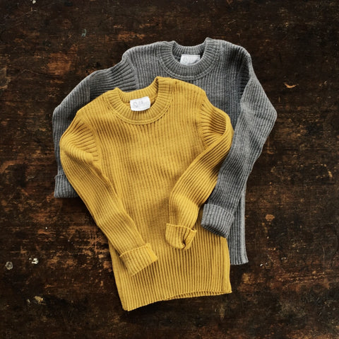 Fine Merino Rib Sweater - Gold - 3-6y
