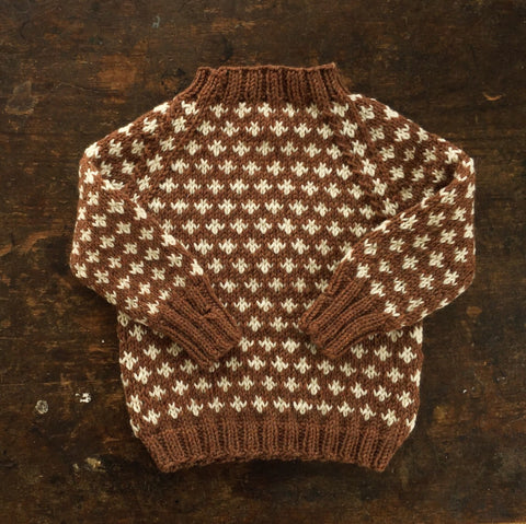 Hand-Knit Sweater Knud - Cinnamon - 1-10y