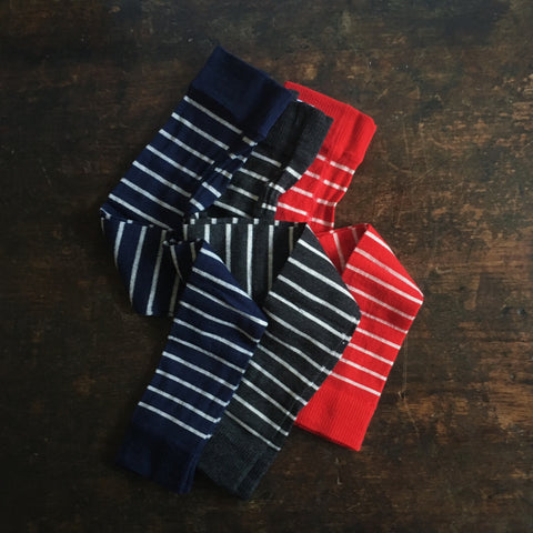 Organic Merino/Cotton Stripe Footless tights - Graphite, Red and Navy - 2-9y