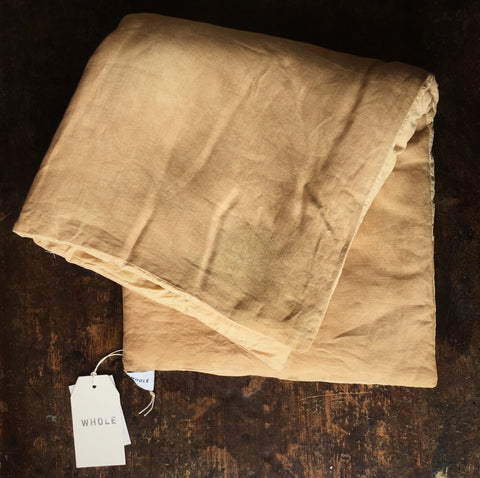 Hand Dyed Linen Thick Quilted Baby Play Quilt - Ochre