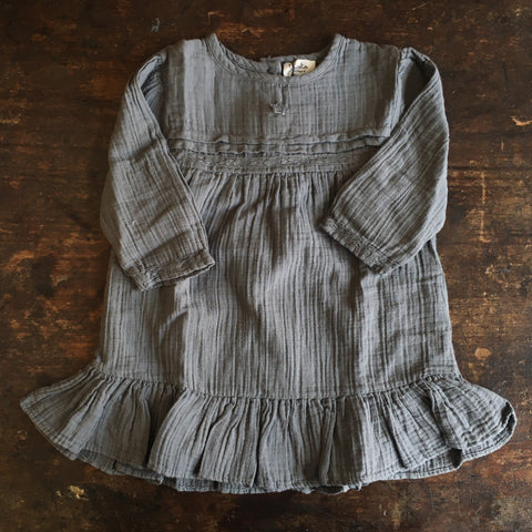 Cotton Lace Baby Dress - Grey - 6m-2y