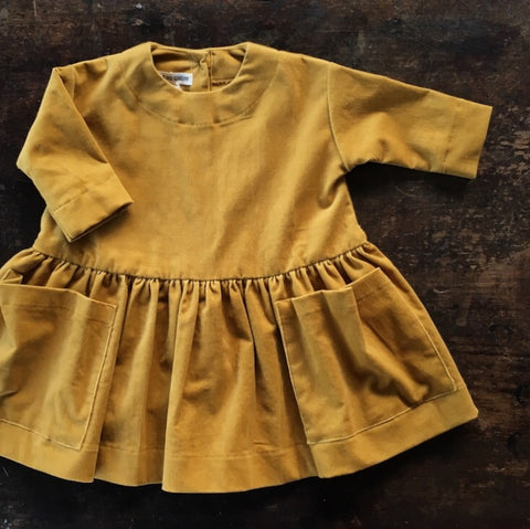 Cotton Corduroy Pocket Dress Long Sleeves - Mustard - 6m-12y