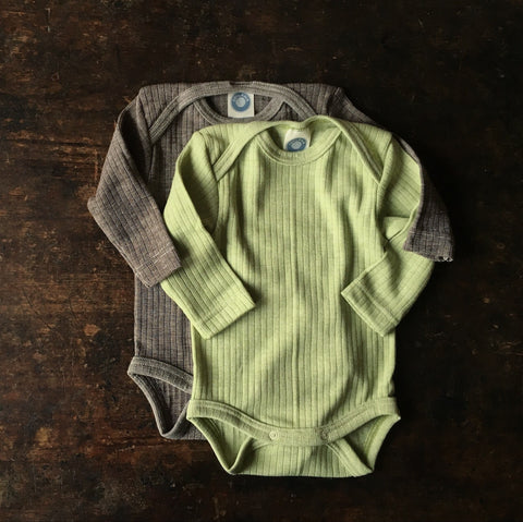 Organic Merino Wool, Cotton & Silk Body - Green Melange - 0m-3y
