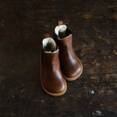 Wool Lined Leather Chelsea Boots w/ Zip - Brown - 22-35 (UK 5-2.5)