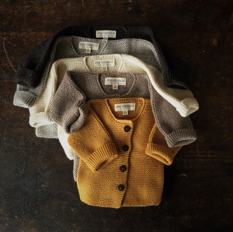 Beautiful Alpaca Cardigan - Grey, Oatmeal, Natural, Mustard and Brown - 0m-2y