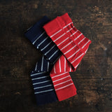 Organic Wool/Cotton Stripe Baby Footless Tights - Red or Navy - 0-18m