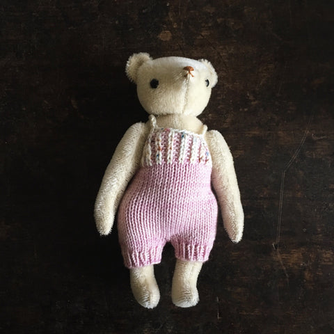 Mohair Classic Bear in MP Overalls - Cream/Lilac