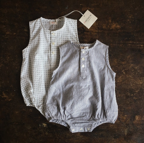 Cotton Kumar Romper - Grey Stripe - 6m-2y