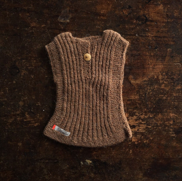 Hand-knitted Alpaca Rib Vest -Cocoa - 0m-4y