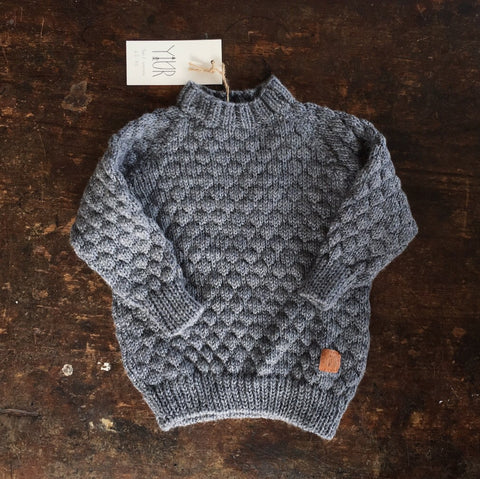 Handmade Sky Merino Sweater - Dark Grey - 3m-7y