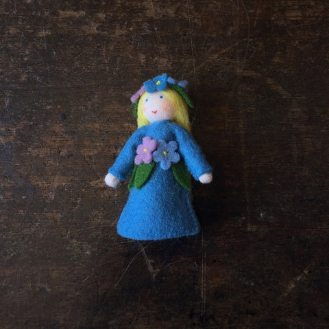 Handmade Small Wool Fairy With Flower - Forget Me Not