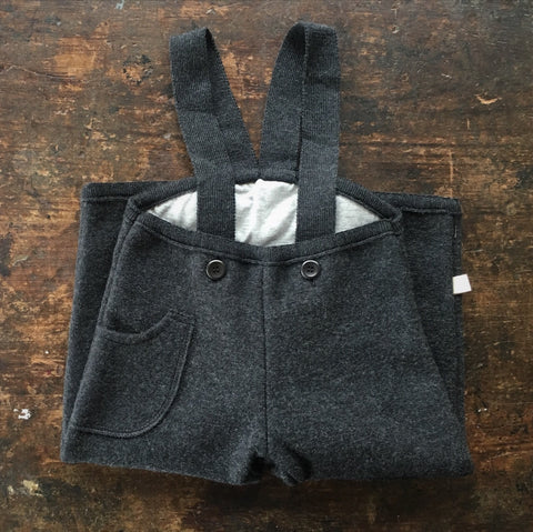 Exclusive Organic Boiled Wool Pocket Dungarees - Anthracite