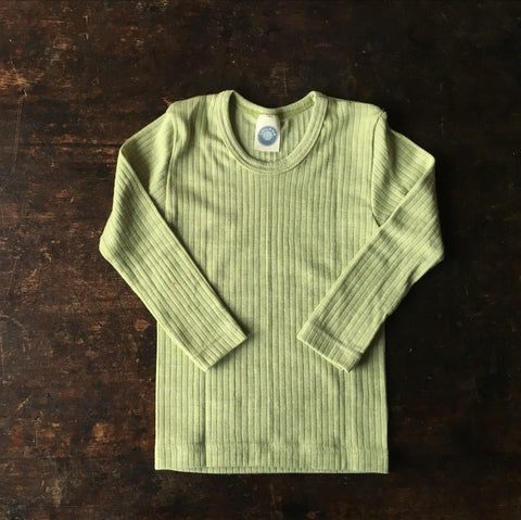 Organic Merino Wool, Cotton & Silk Top - Green Melange - 18m-8y