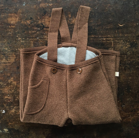 Exclusive Organic Boiled Wool Dungarees - Hazelnut