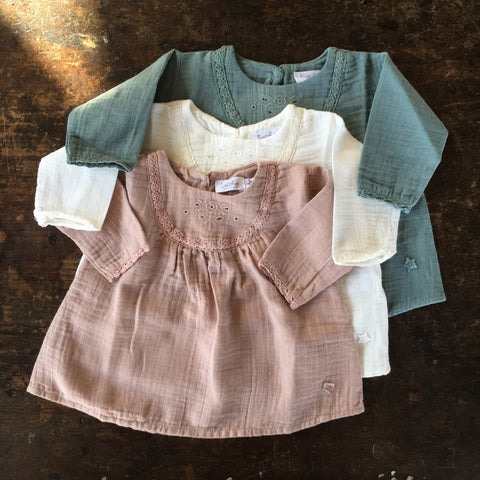 Cotton Lace Baby Dress - Ecru - 3-24m