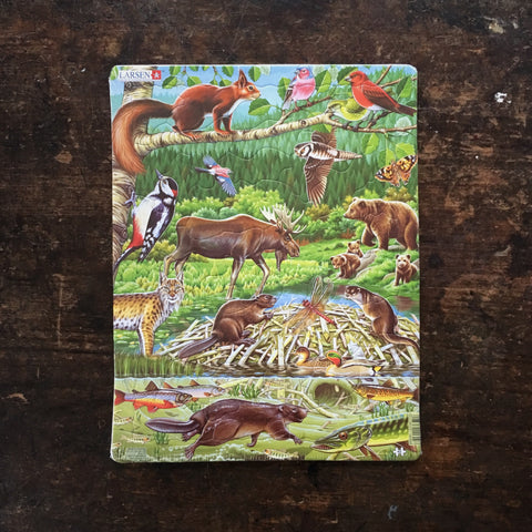 Thick Cardboard Puzzle 45 pieces - Wildlife of the Nordic Forest