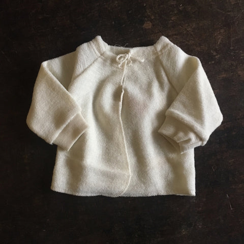 Organic Merino Wool Terry Baby Cardigan - Natural - 0m-6m