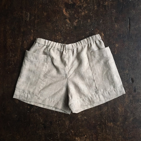 Exclusive Linen Pocket Shorts - Oatmeal - 18m-12y