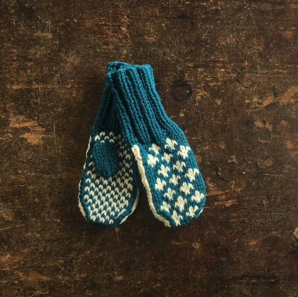 "Hand Knitted ""Knud"" Wool Mittens - Petrol - 0-5y"