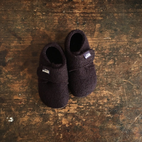 Velcro Wool Slipper Shoe - Dark Aubergine - 21-30 (UK 4.5-11.5)