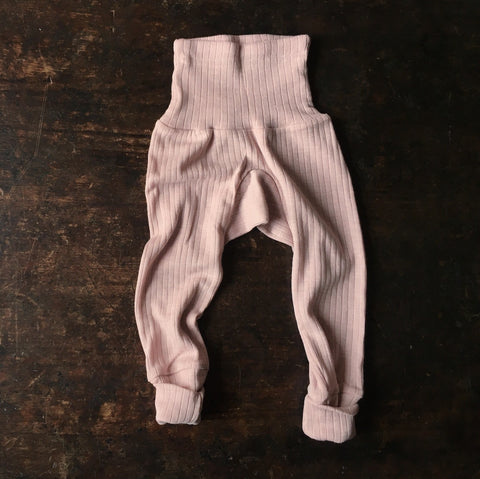 Organic Merino Wool, Cotton & Silk Baby Pants - Pale Pink - 0m-2y