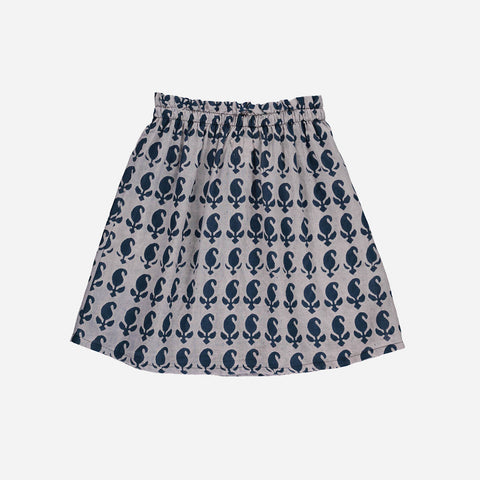Organic Cotton Isabella Block Print Skirt - Blue - 2-6y