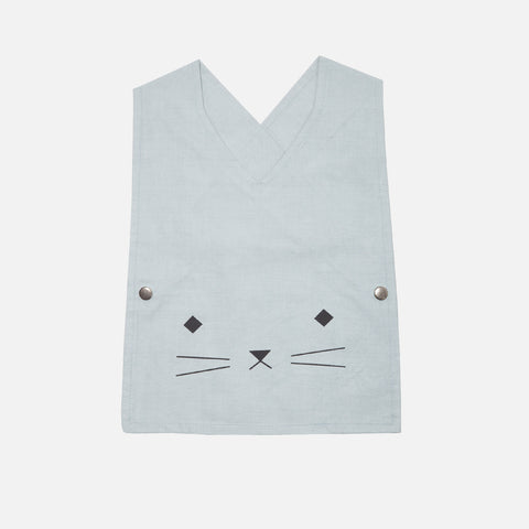Organic Cotton Smock Bib - Cuddly Cat