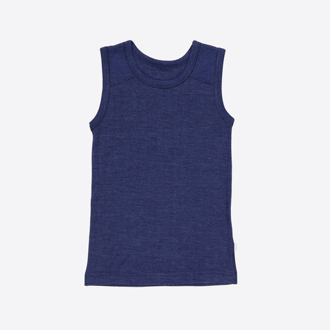 Merino wool/silk sleeve less vest Navy  2y-12y