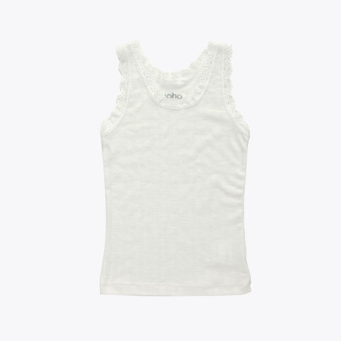 Lace Merino Wool/Silk Sleeveless Vest - Natural