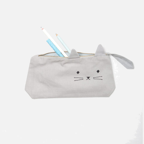 Organic Cotton Pencil Case - Cute Cat