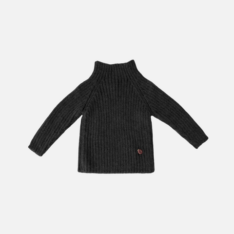 Alpaca Rib Sweater - Charcoal - 1-10y