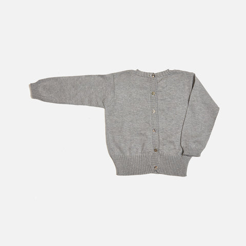 Alapca/Cotton Lace Sweater - Grey - 6-18m