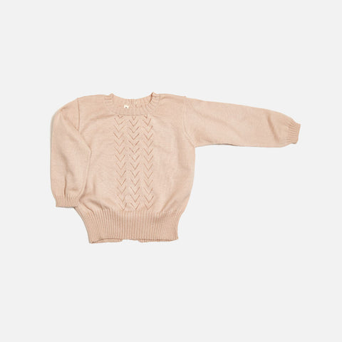 Alapca/Cotton Lace Sweater - Shell - 6m-8y