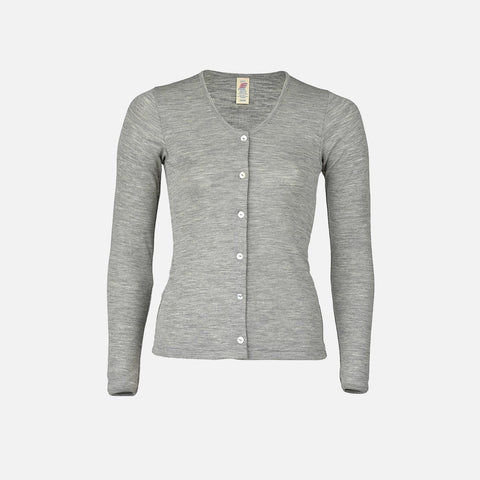 Organic Silk & Merino Wool Women's Cardigan - Grey - XS-XL