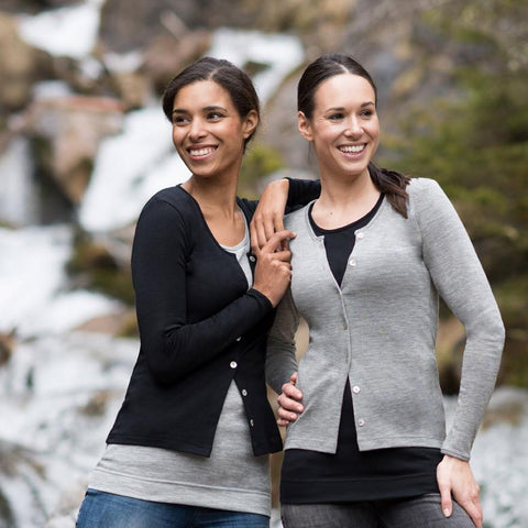 Organic Silk & Merino Wool Women's Cardigan - Black