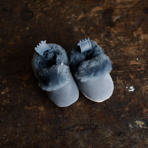 Eco Leather Slippers Minion - Blue Grey - 0-24m