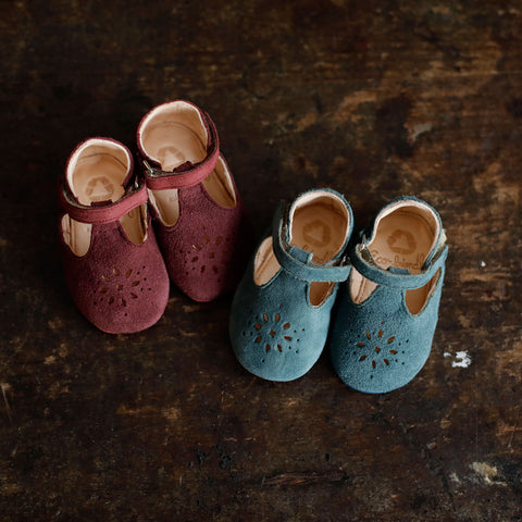 Eco Leather Little Shoes Lily - Bordeaux Suede - EU 17-24m