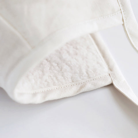 Linen Bonnet With Cotton Sherpa Lining - Ivory Linen