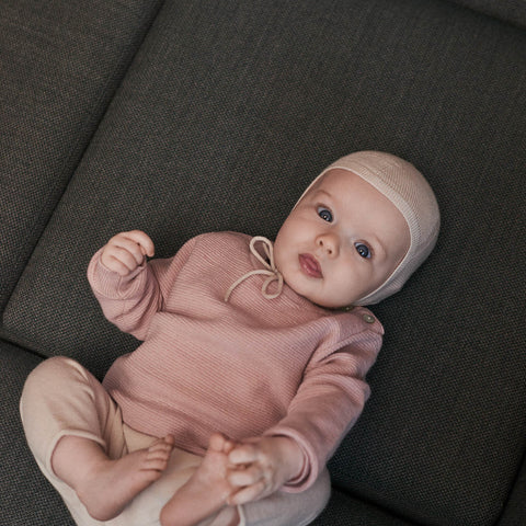 Merino Baby Basic Cardigan - Rose - 0-2y