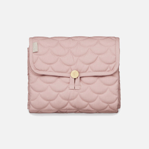 Organic Cotton Quilted Changing Mat - Soft Rose