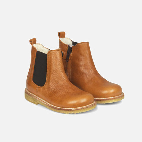 Wool Lined Chelsea Boots w/Zip - Light Cognac
