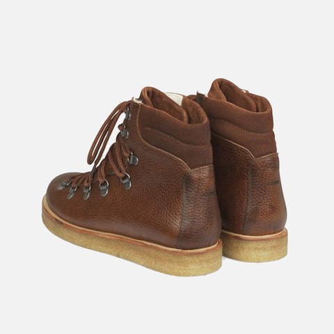 Women's Wool Lined Boots With Laces And D Rings - Cognac