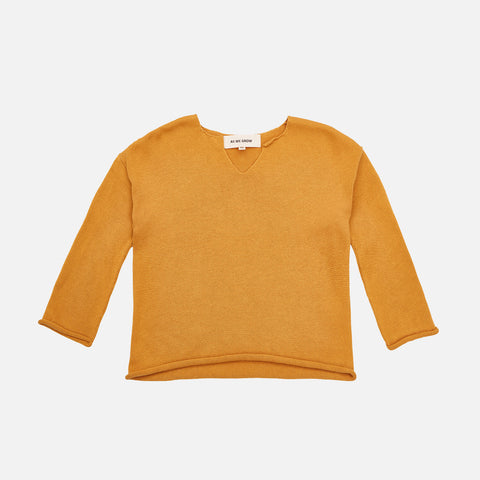 Cotton Oversized Viking Sweater - Saffron