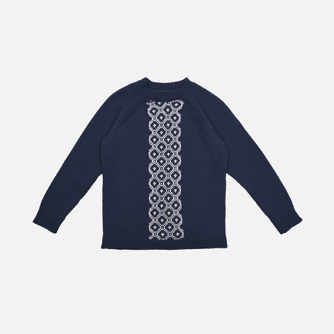 Alpaca Geometric Sweater - Navy