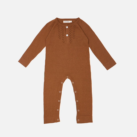 Cotton / Baby Alpaca Lace Front Overall - Brown