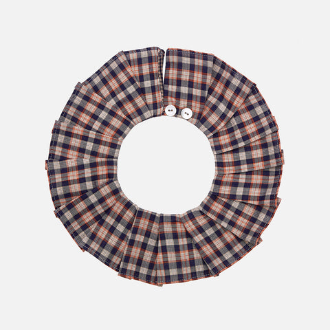 Cotton Pleated Collar - Navy Check