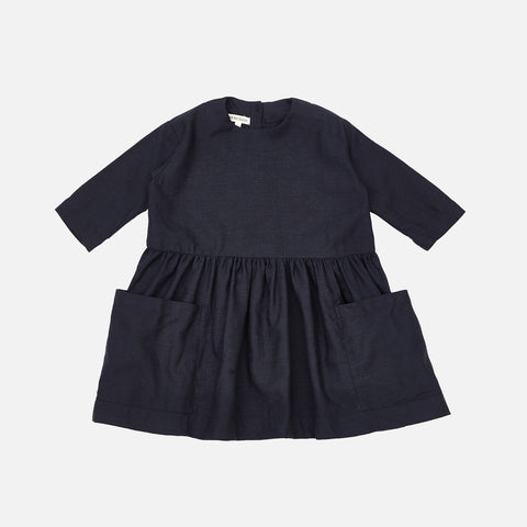 Linen Pocket Dress- Navy Mini Check