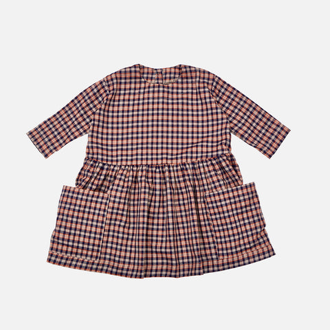Cotton Pocket Dress- Navy Check